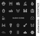 editable 22 sushi icons for web ... | Shutterstock .eps vector #1255097425