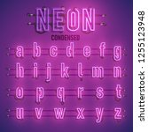 realistic neon font with wires... | Shutterstock .eps vector #1255123948