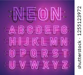 realistic neon font with wires... | Shutterstock .eps vector #1255123972