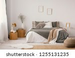 flowers on wooden stool and... | Shutterstock . vector #1255131235