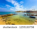 flooded in the sea ruins of... | Shutterstock . vector #1255133758