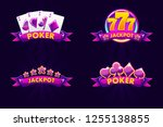 purple jackpot and poker emblem.... | Shutterstock .eps vector #1255138855
