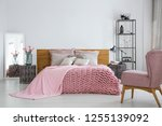 pink cozy woolen blanket and... | Shutterstock . vector #1255139092