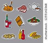 set of stickers of restaurant... | Shutterstock .eps vector #1255142368