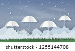 origami made rainy weather...   Shutterstock .eps vector #1255144708