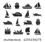 ship and marine boat black... | Shutterstock .eps vector #1255154275
