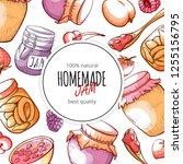 homemade natural jam and... | Shutterstock .eps vector #1255156795