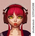 portrait of happy anime girl... | Shutterstock . vector #1255165288