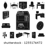 furniture and interior black... | Shutterstock .eps vector #1255176472