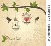 Vintage Background With Bird...