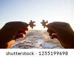 take the puzzle in your hand | Shutterstock . vector #1255199698