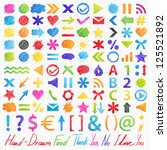 Set  Hand Drawn Symbols  Icons...