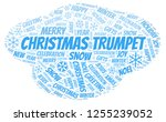 christmas trumpet word cloud. | Shutterstock . vector #1255239052