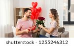 valentines day  couple ... | Shutterstock . vector #1255246312