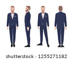 attractive bearded man dressed... | Shutterstock .eps vector #1255271182
