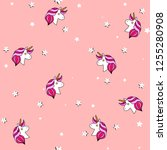 seamless pattern with unicorn ... | Shutterstock .eps vector #1255280908