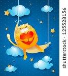 sweet cat sleeping over the...   Shutterstock .eps vector #125528156