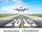 yhe runway 2019 surface of the... | Shutterstock . vector #1255283545