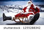 red old santa claus and winter...   Shutterstock . vector #1255288342