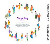 shopping people 3d banner card...   Shutterstock .eps vector #1255289008