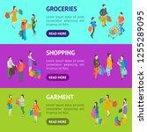 shopping people 3d banner...   Shutterstock .eps vector #1255289095