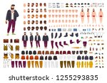 fat guy constructor set or diy... | Shutterstock .eps vector #1255293835