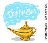 golden magic lamp vector... | Shutterstock .eps vector #1255295128