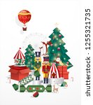 christmas greetings template... | Shutterstock .eps vector #1255321735