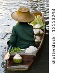 Damnoen Saduak Floating Market Boat, Bangkok, Thailand - stock photo