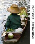 Damnoen Saduak Floating Market Boat, Bangkok, Thailand - stock photo