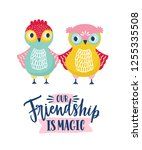 funny owls and friendship is... | Shutterstock .eps vector #1255335508