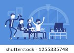 men gathering at home  assembly ... | Shutterstock .eps vector #1255335748