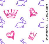 seamless pattern with rabbits... | Shutterstock . vector #1255353895