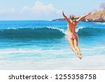 happy family vacation. girl in... | Shutterstock . vector #1255358758