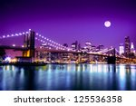 The Brooklyn Bridge Lit Up At...