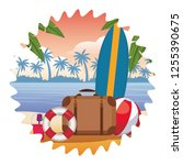 beach items seascape | Shutterstock .eps vector #1255390675
