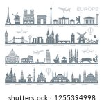 collection of europe detailed... | Shutterstock .eps vector #1255394998