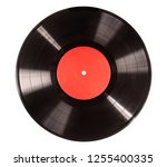 black vinyl record isolated on... | Shutterstock . vector #1255400335