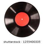 black vinyl record isolated on... | Shutterstock . vector #1255400335