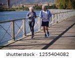 active senior couple jogging...   Shutterstock . vector #1255404082
