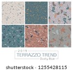 set of six terrazzo patterns.... | Shutterstock .eps vector #1255428115