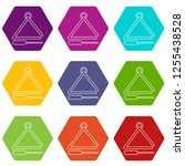 musical triangle icons 9 set... | Shutterstock . vector #1255438528