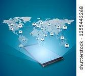 hologram of global internet... | Shutterstock . vector #1255443268