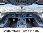 cockpit of civil airliner... | Shutterstock . vector #1255444582