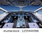 cockpit of civil airliner... | Shutterstock . vector #1255444588
