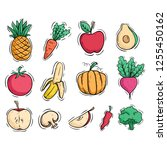 fruit and vegetable collection...   Shutterstock .eps vector #1255450162