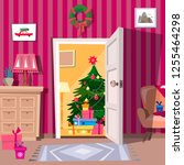 cozy christmas  interior with ... | Shutterstock .eps vector #1255464298
