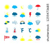 modern weather icons set. flat... | Shutterstock .eps vector #1255473685
