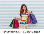 enchanting female shopaholic... | Shutterstock . vector #1255475065