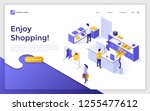 landing page with people or... | Shutterstock .eps vector #1255477612